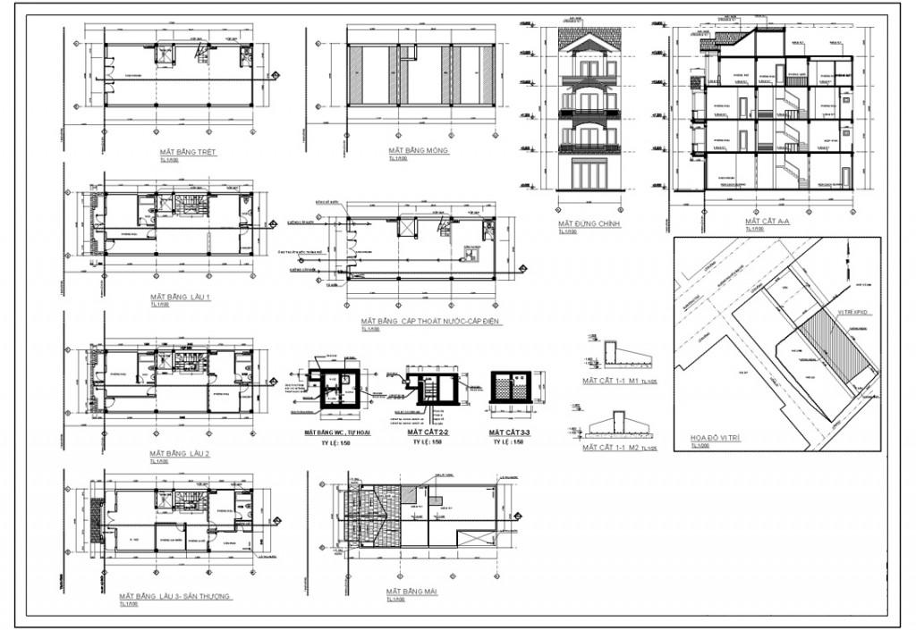 Bản vẽ xin phép xây dựng nhà phố