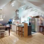 Những căn phòng hiện đại và tiện lợi trên gác xép áp mái nhà