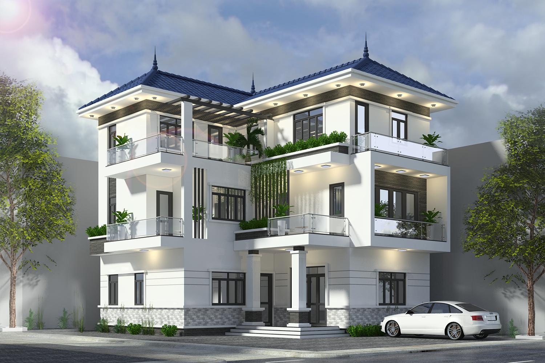 Mẫu thiết kế biệt thự hiện đại 3 tầng mái Thái