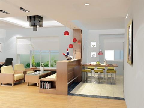 Các tường vách trong căn hộ được phá bỏ tạo nên một không gian sống rộng, thoáng