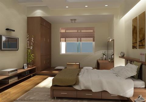 Không gian thông thoáng của hai phòng ngủ với thiết kế nội thất đơn giản, trầm ấm