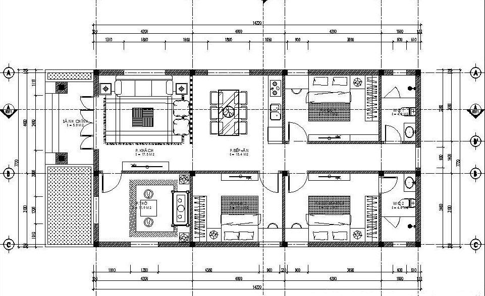 Bản vẽ nhà cấp 4 có phòng thờ và 3 phòng ngủ