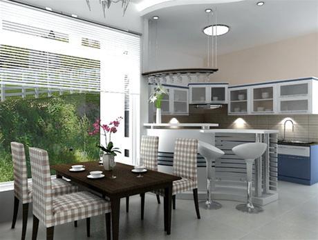 Một góc phòng ăn với quầy bar ngăn hờ khu vực bếp - nấu nướng