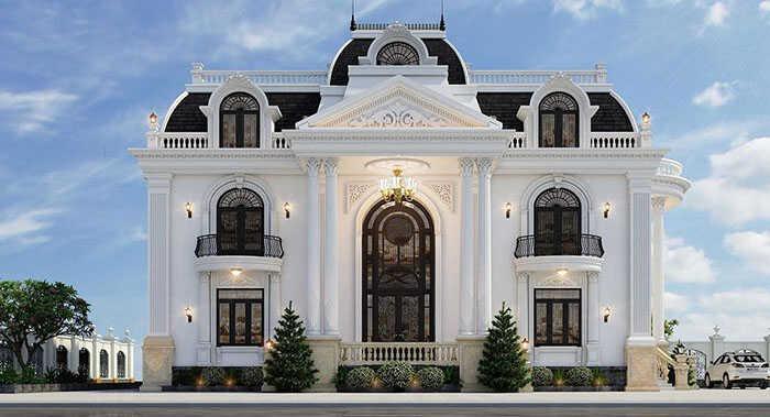 Thiết kế biệt thự Pháp phong cách tân cổ điển được nhiều chủ đầu tư ưa chuộng