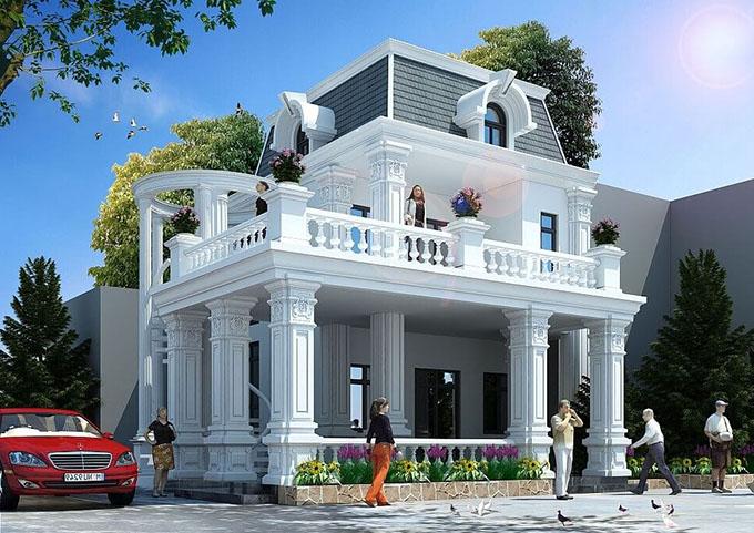 Biệt thự mini 2 tầng tân cổ điển được nhiều gia chủ lựa chọn