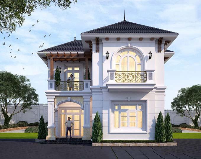thiết kế nhà 2 tầng 80m2 tân cổ điển